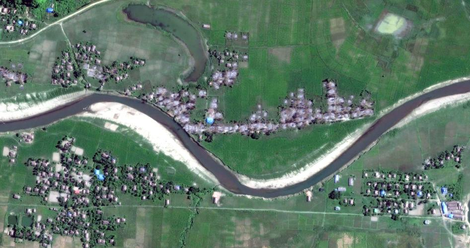 Satellite imagery of four villages in Maungdaw township, northern Rakhine State, on December 2.