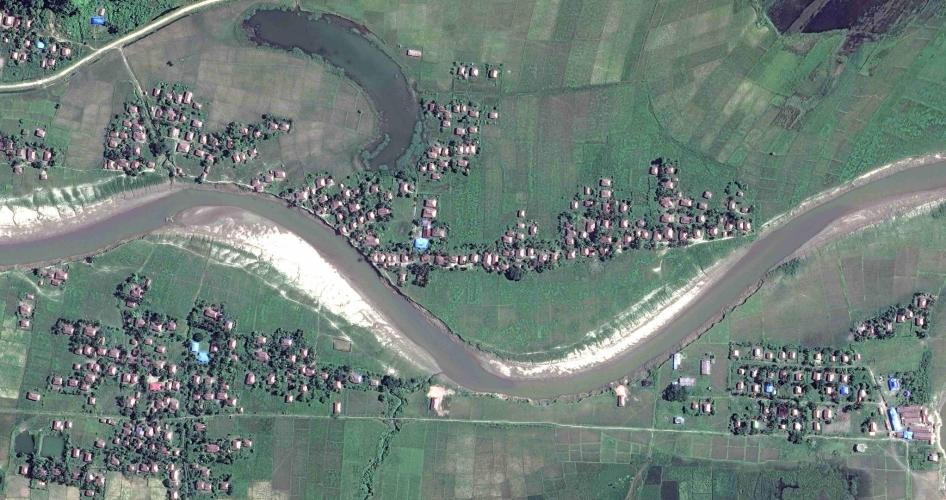 Satellite imagery of four villages in Maungdaw township, northern Rakhine State, on November 6.