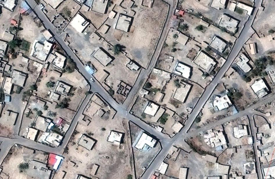 Satellite image recorded on September 23, 2016, before home demolitions in al-Aithah village, outside Tikrit, Iraq.