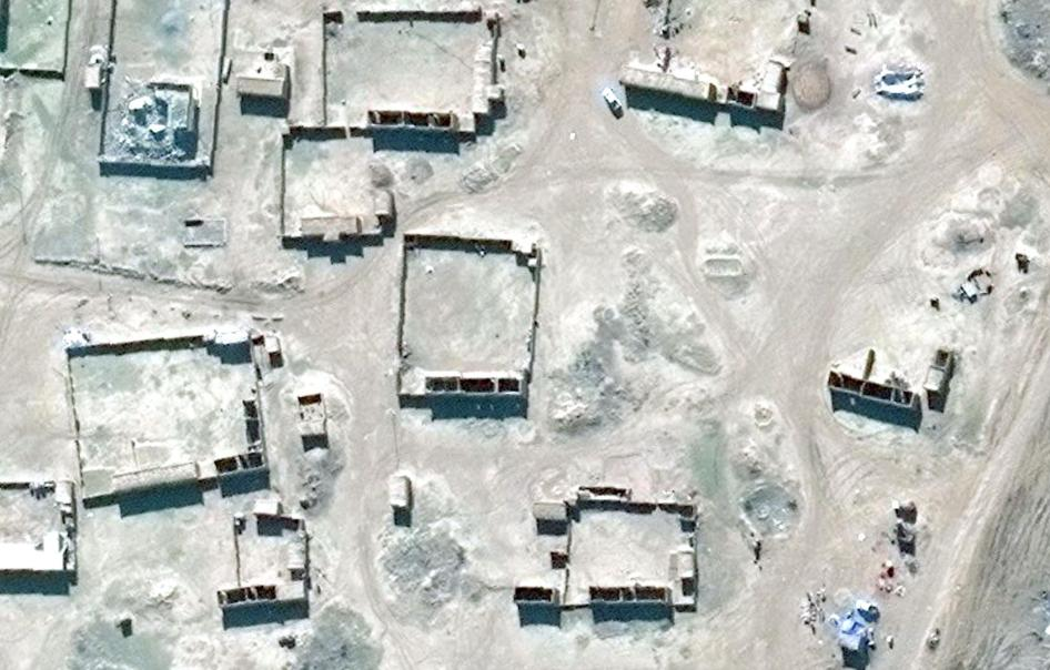 Satellite image showing building demolition in village of Mashirafat al-Jisr