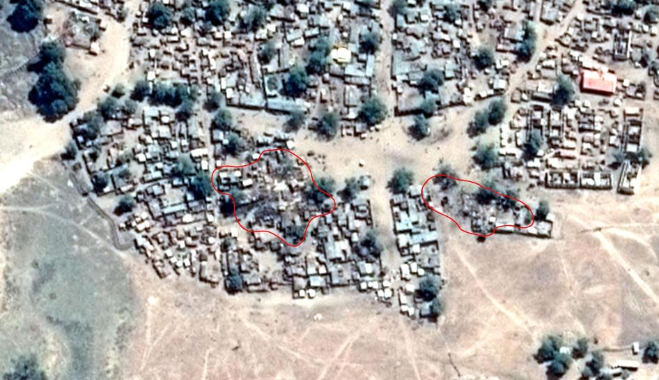 Satellite image recorded on January 18, 2017 after the air strike. Damages indicated in red.