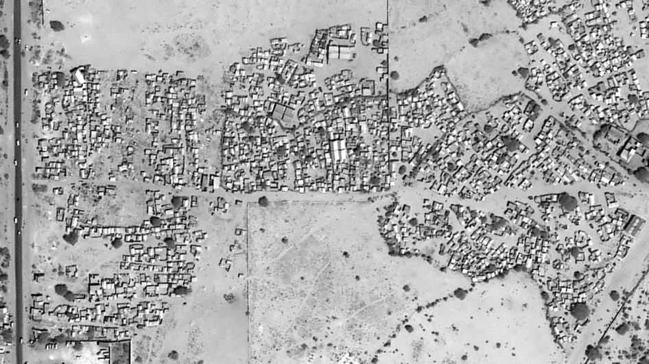 Satellite image recorded on December 29, 2017 before the demolition of Masha'Allaah center settlements