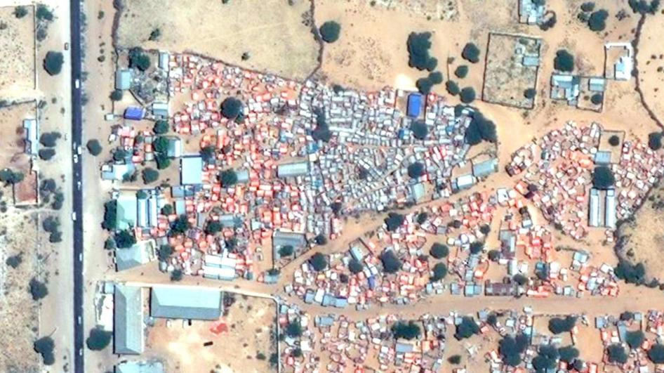 Satellite image recorded on December 28, 2017 before the demolition of Xaq-Dhowr center settlements