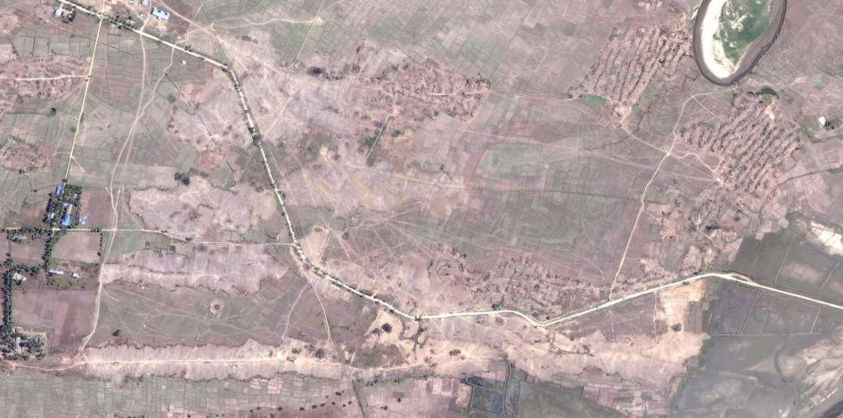 Satellite imagery recorded after the clearing of the destroyed village of Myin Hlut.