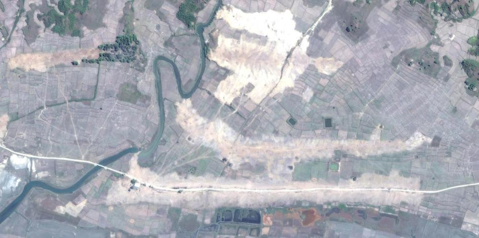 Satellite imagery recorded after the clearing of the destroyed village of Gwa Son.
