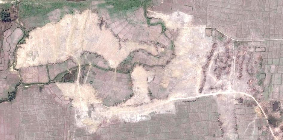 Satellite imagery recorded after the demolition of the intact village of Howay Yar.