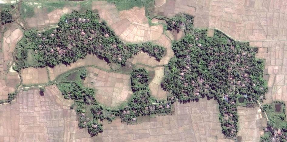 Satellite imagery recorded before the demolition of the intact village of Howay Yar.