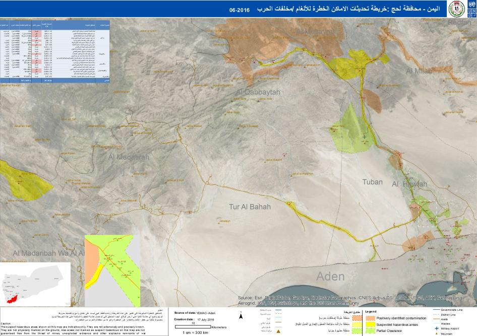 This mine danger map shows areas in Lahj that likely remain contaminated by landmines and other explosive remnants of war. The map is indicative only, as hazardous areas are not precisely known and these maps need to be updated regularly. The areas marked clear are not guaranteed to be free from explosive remnants of war, July 2016.