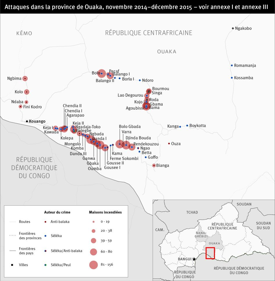 Map of attacks in Central African Republic Ouaka Province in French
