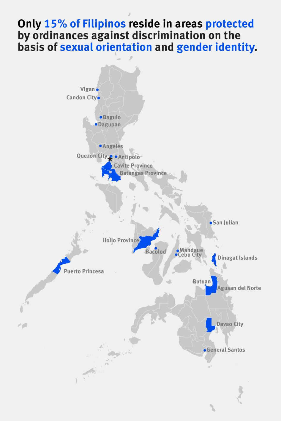Map of the of areas in the Philippines protected from discrimination based on Sexual Orientation and Gender