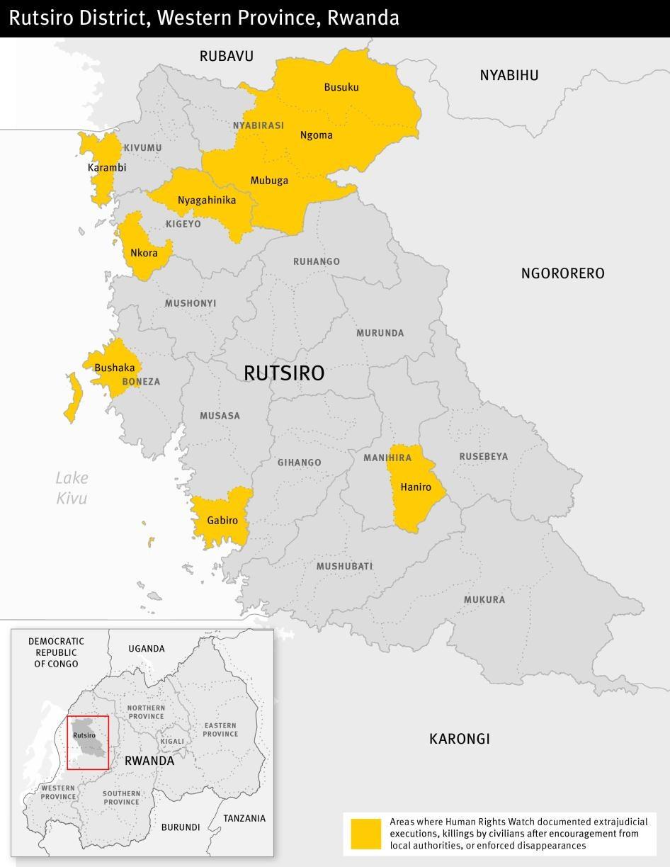 Map of the Rutsiro district in Rwanda