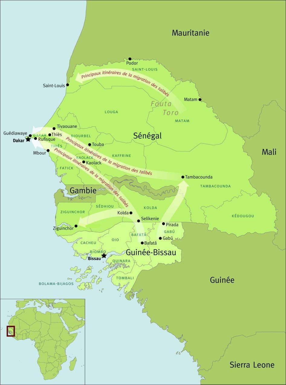 Les principaux itinéraires, au Sénégal et en Guinée-Bissau, de la migration des talibés – des élèves d'écoles coraniques les soumettant à la mendicité forcée.