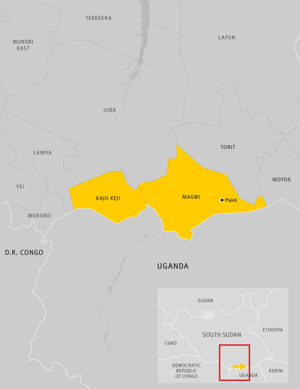 Map of Kajo Keji and Magwi Areas in South Sudan
