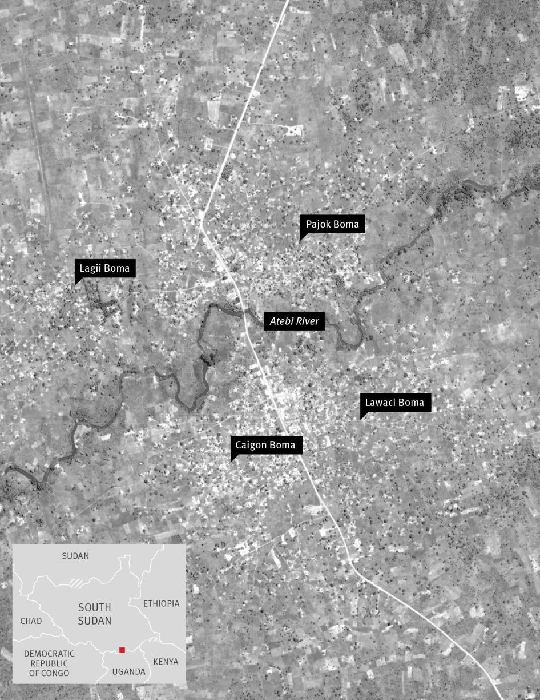 Map of Pajok in South Sudan
