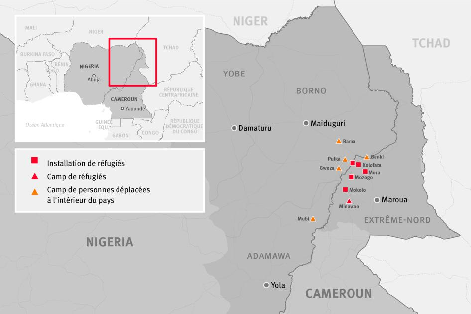Carte de certains camps de réfugiés, installations de réfugiés et camps de déplacés internes dans les zones frontalières entre le Cameroun et le Nigeria
