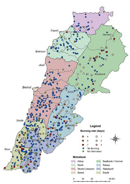 Map of municipal solid waste dump burn rates in Lebanon