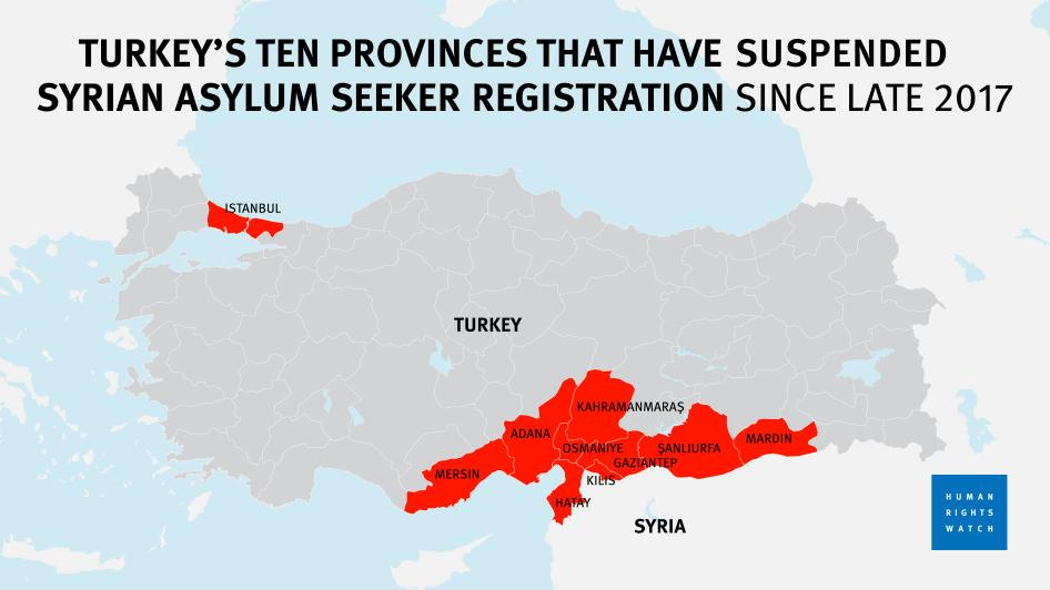 Map of ten provinces in Turkey that have suspended asylum seeker registration since late 2017.