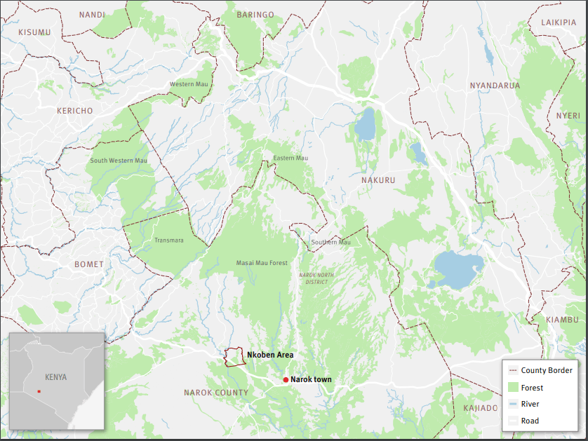 Map showing Mau forest. The Nkoben area, on the Maasai Mau side of the forest, was the site of forceful evictions in 2018.
