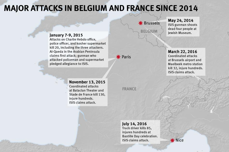 Map of the Major Attacks in Belgium and France since 2014