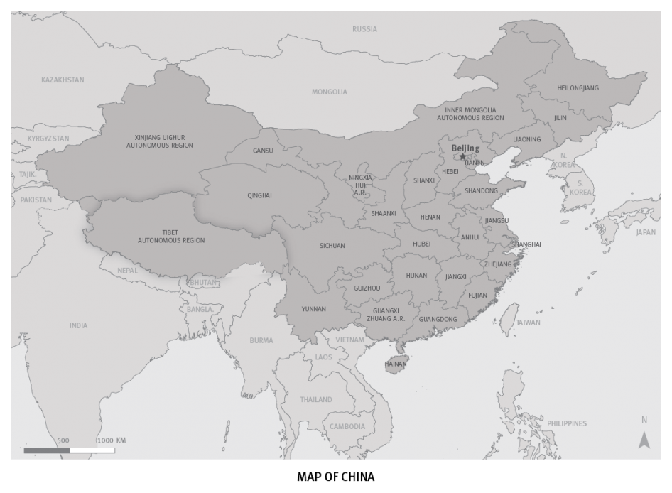 Map of China and Tibet