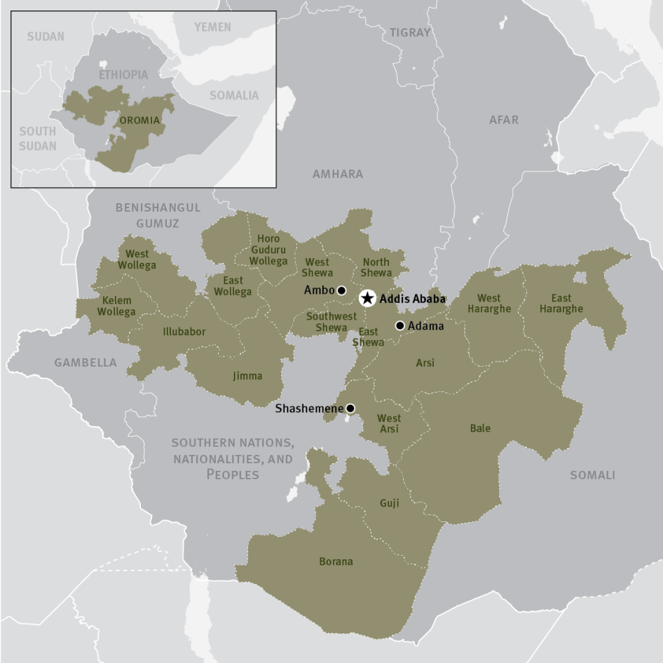 Map of the Oromia region in Ethiopia