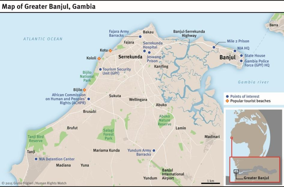 Map of Banjul,Gambia