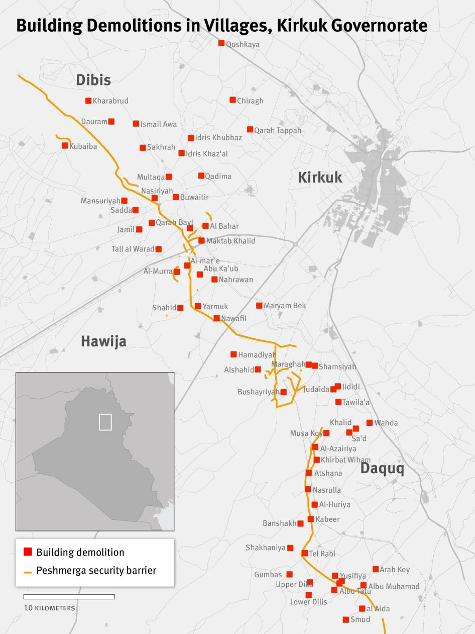 Map of Building Demolitions in Villages, Kirkuk Governorate