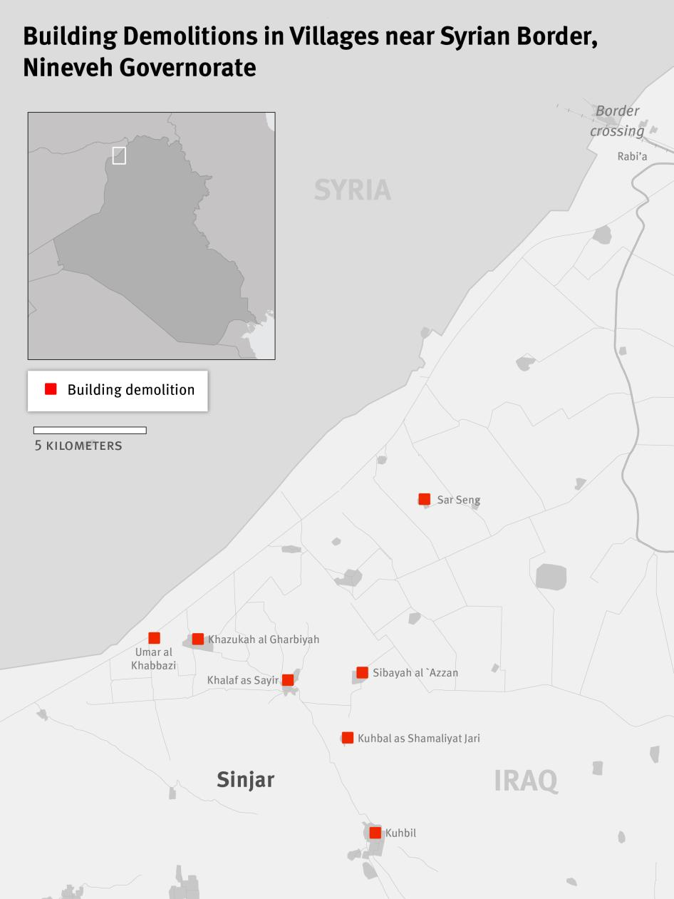 Map of Building Demolitions in Villages near the Syrian Border, Nineveh Governorate