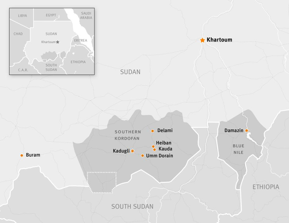 Map of South Kordofan, Sudan