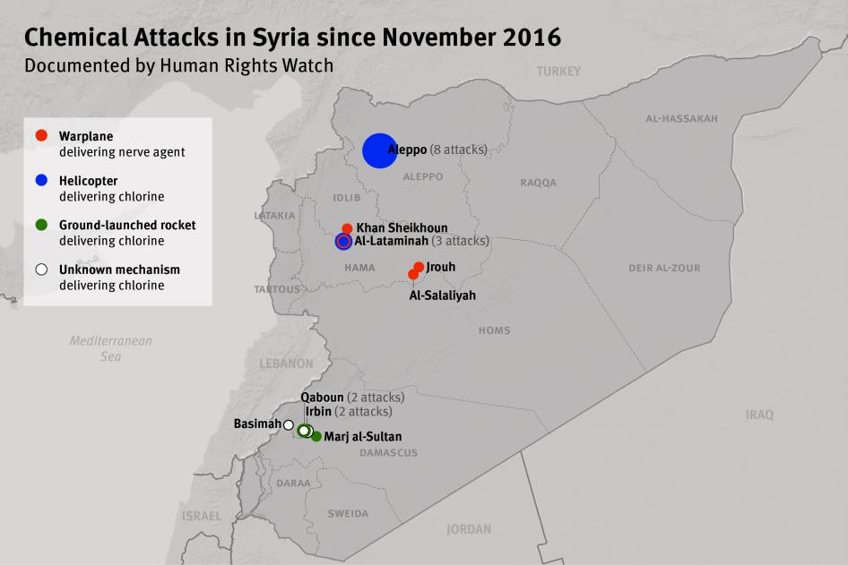 Map of Chemical Attacks in Syria since November 2016