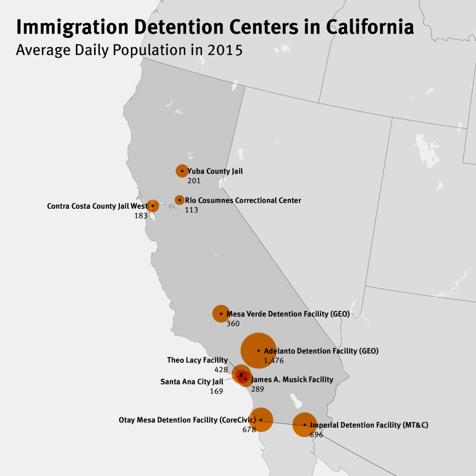 Map of Immigration Detention Centers in California