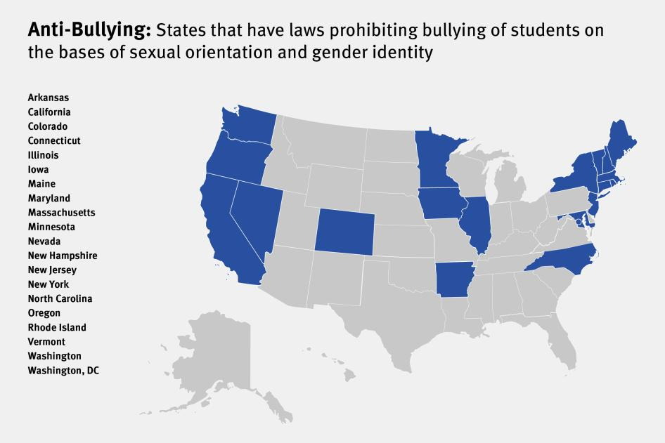 Discrimination Against LGBT Youth In US Schools HRW - Transgender map of us
