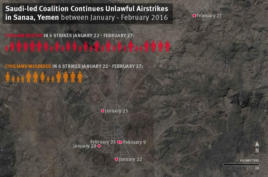 Saudi-led Coalition Continues Unlawful Airstrikes in Sanaa, Yemen between January - February 2016