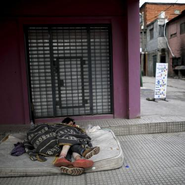 "Homeless women sleep outside on a mattress in the ""Villa 31"" neighborhood during a government-ordered lockdown to curb the spread of the new coronavirus in Buenos Aires, Argentina, Wednesday, May 6, 2020."