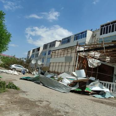 Hurricane damage to a residential building in Turkmenabad, Lebap province, Turkmenistan, May 2020.