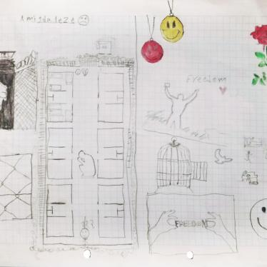 "Drawing by ""Ibrahim,"" age 14, detained for 11 weeks. Drawing titled, ""Life in and After Detention"""