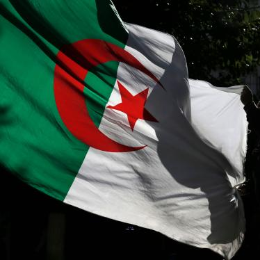 An Algerian demonstrator holds the Algerian national flag as he stage a protest against the government in Algiers, Algeria, Friday, Nov.29, 2019.