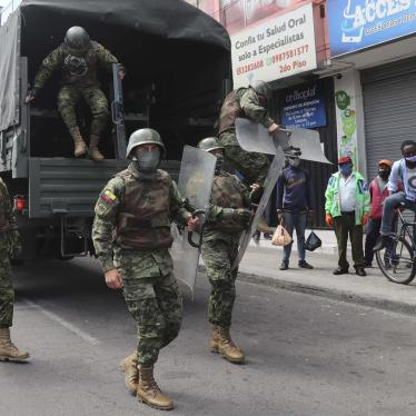 Soldiers in riot gear arrive to reinforce authorities after street merchants protested the seizure of their merchandise by the municipal police of Quito, Ecuador, Thursday, May 21, 2020.