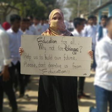 Rohingya refugee students demonstrate against being expelled from Bangladeshi secondary schools in Cox's Bazar, Bangladesh, February 6, 2019.