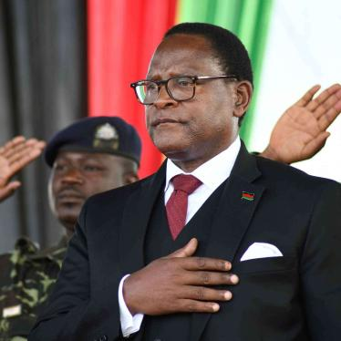 Malawi's newly elected President Lazarus Chakwera takes the oath of office in Lilongwe, Malawi, Sunday June 28, 2020.