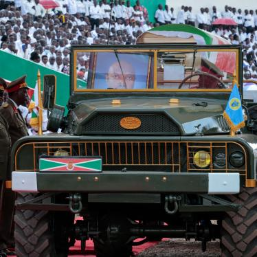 A portrait of Burundi's late president Pierre Nkurunziza sits in the front seat of the military vehicle carrying his coffin at his state funeral in Gitega, Burundi, June 26, 2020.