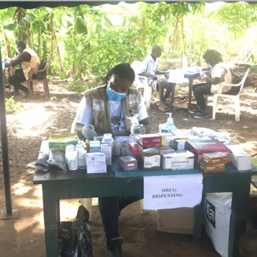 A Cameroonian aid worker conducting Covid-19 awareness campaign in the South-West region, May 15, 2020