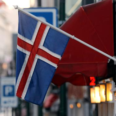 An Icelandic flag hangs outside a shop in Reykjavik, October 27, 2016.