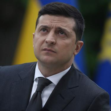 Ukraine President Volodymyr Zelensky looks on during a press conference in the garden of the Mariinsky Palace in Kyiv, May 22, 2020.