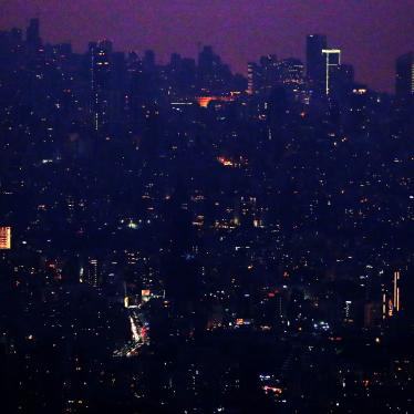 Lebanon's capital, Beirut, in the dark on July 27, 2020, due to widespread electricity blackouts caused by fuel shortages in the midst of a dire economic crisis.