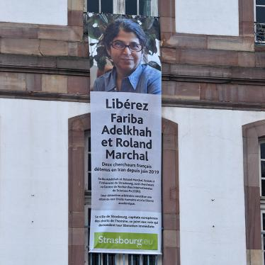 Message on the facade of the Strasbourg City Hall in France calling for the release of Fariba Adelkhah and Roland Marchal, two French scientists detained in Iran since June 2019.