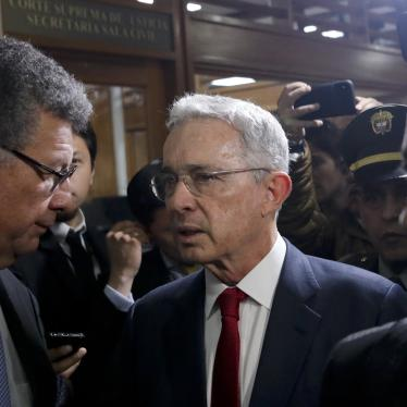 Former Colombian president Álvaro Uribe arrives at the Supreme Court for questioning in a case about his alleged involvement in witness tampering in Bogotá, Colombia, Tuesday, October 8, 2019.