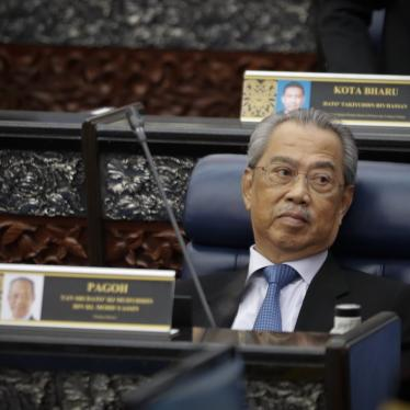 Prime Minister Muhyiddin Yassin attending parliament session at parliament lower house in Kuala Lumpur, Malaysia, Monday, July 13, 2020.