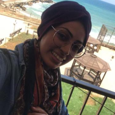 Abier Almasri, Human Rights Watch's Gaza-based research assistant, from the balcony of her shared room at a Gaza City hotel that served as a makeshift quarantine center.