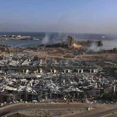 Aftermath of the explosions at Beirut's seaport, August 5, 2020.